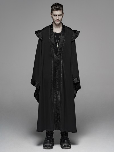 Punk Rave Black Retro Gothic Chinese Long Gown Jacket for Men