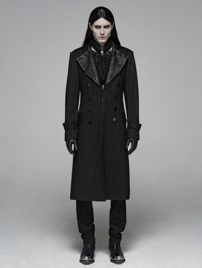 Punk Rave Black Vintage Stripe Gothic Gentleman Steampunk Long Coat for Men