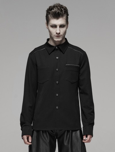 Punk Rave Black Gothic Punk Metal Zipper Shirt for Men