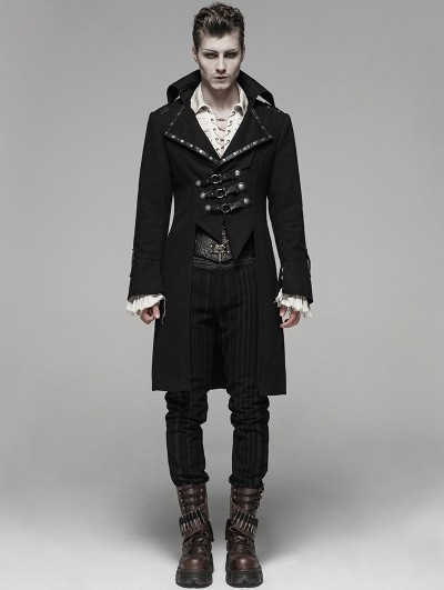 Punk Rave Black Gothic Steampunk Masquerade Long Coat for Men