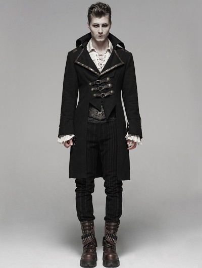 Punk Rave Coffee Gothic Steampunk Masquerade Long Coat for Men