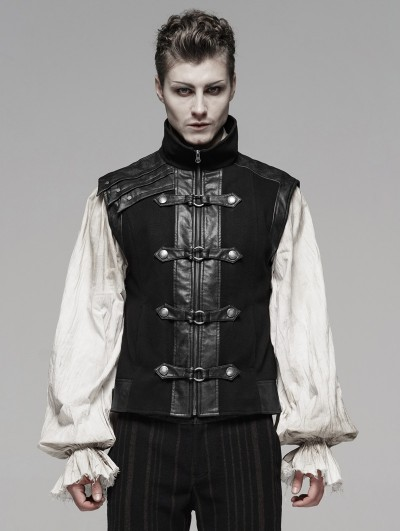 Punk Rave Black Retro Gothic Steampunk Vest for Men
