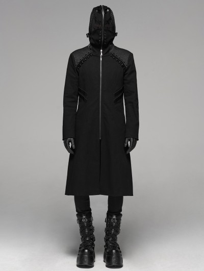 Punk Rave Black Gothic Punk Weird Mask Long Hooded Coat for Men