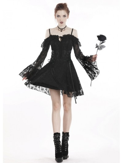 Dark in Love Black Sweet Gothic Off-the-Shoulder Lace Short Dress