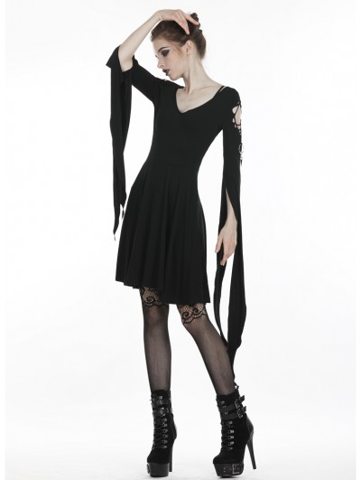 Dark in Love Black Gothic Punk Short Dress with Long Trumpet Hooked Sleeves