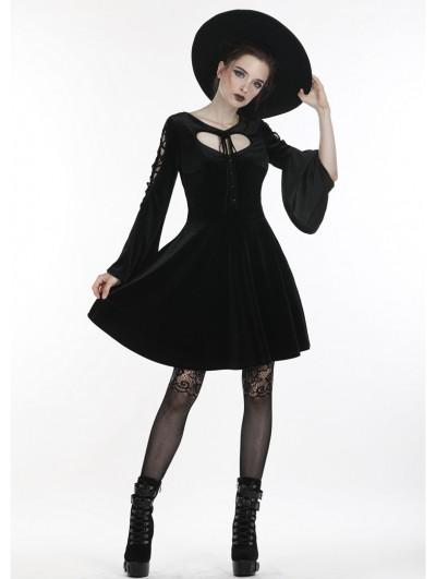 Dark in Love Black Gothic Velvet Heart-Shaped Short Dress