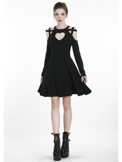Dark in Love Black Gothic Punk Heart-Shaped Harness Style Short Dress