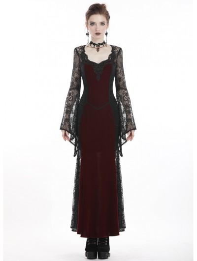 Dark In Love Long Gothic Skirt Black Red Damask Velvet Lace Steampunk Victorian