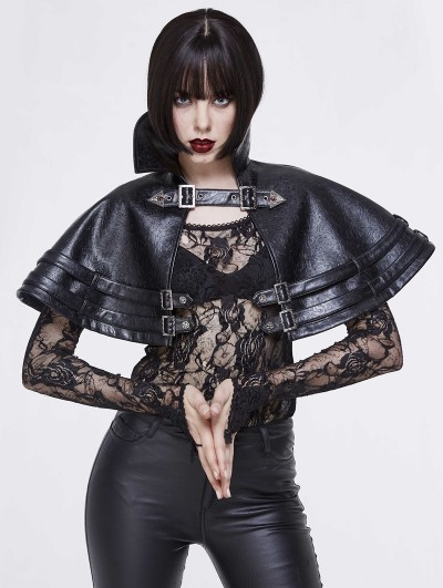Devil Fashion Black PU Leather Gothic Vampire Collar Cape for Women