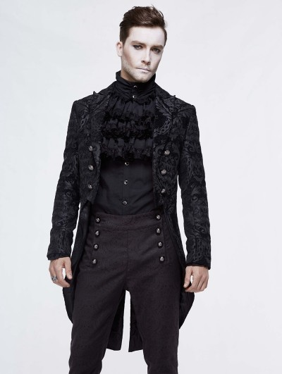 Devil Fashion Black Vintage Gothic Double Breasted Tail Coat for Men