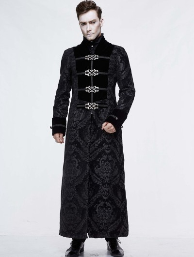 Devil Fashion Black Vintage Gothic Victorian Long Coat for Men