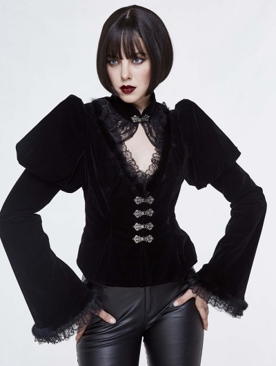 Devil Fashion Black Vintage Gothic Velvet Long Sleeve Short Coat for Women