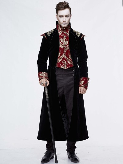 Devil Fashion Black Vintage Gothic Victorian Masquerade Long Tail Coat for Men
