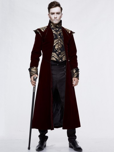 Devil Fashion Red Vintage Gothic Victorian Masquerade Long Tail Coat for Men