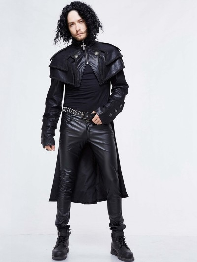 Devil Fashion Black Gothic Punk PU Leather Cape Coat for Men