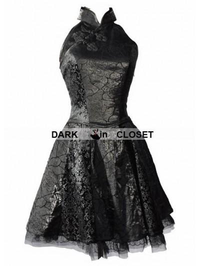 Pentagramme Black Rose Pattern Chinese Cheongsam Style Gothic Dress