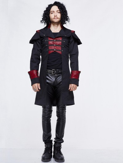 Devil Fashion Black and Red Gothic Military Cape Jacket for Men
