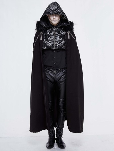 Devil Fashion Black Vintage Gothic Hooded Winter Cape for Men