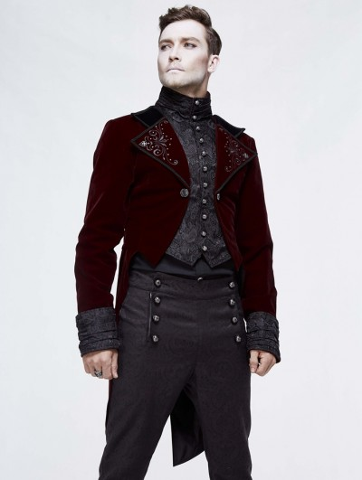 Devil Fashion Red Vintage Gothic Masquerade Party Tail Coat for Men