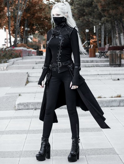 Black Gothic Punk Mask Outfit Set for Women