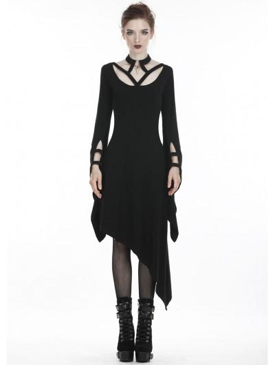 Dark in Love Black Gothic Punk Harness Style Asymmetrical Dress