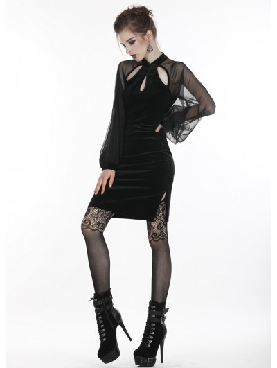 Dark in Love Retro Black Gothic Long Sleeve Hollow-out Short Dress