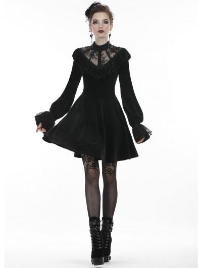 Dark in Love Black Gothic Lolita Long Sleeve Velvet Short Dress