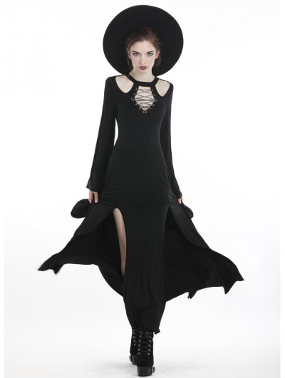 Dark in Love Black Gothic Punk Hollow-out Slit Daily Long Dress