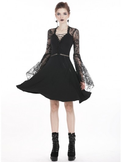 Dark in Love Black Gothic Lace Long Sleeve Daily Short Dress