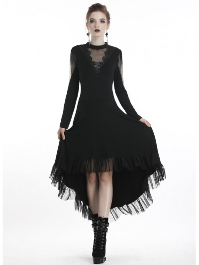 Dark in Love Black Romantic Gothic Long Sleeve High-Low Dress
