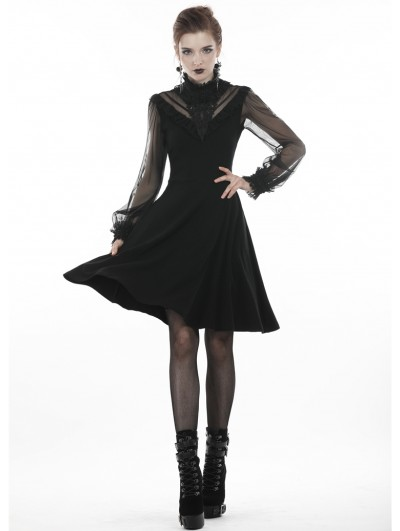 Dark in Love Black Gothic Mesh Sleeve Casual Short A-Line Dress