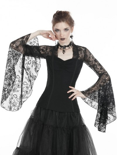 Dark in Love Black Gothic Lace Long Sleeves T-Shirt for Women