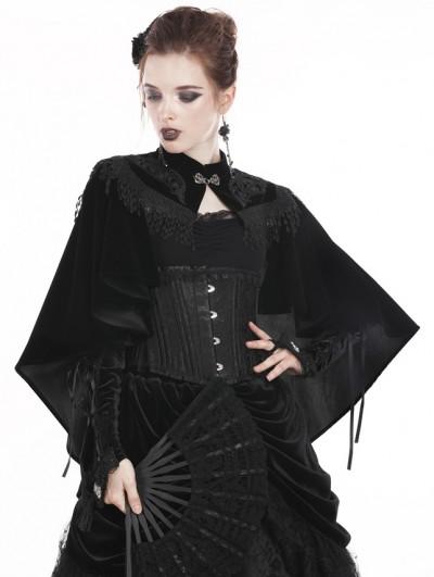Dark in Love Black Gothic Vintage Velvet Tasseled Cape for Women