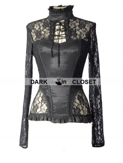 Pentagramme Black Sexy Lace Long Sleeves Gothic T-Shirt for Women