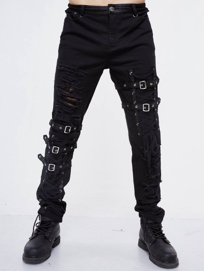 Devil Fashion Black Gothic Punk Hole Long Jeans for Men
