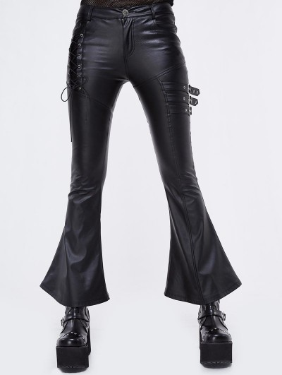 Devil Fashion Black Gothic Punk Faux Leather Flared Trousers for Women