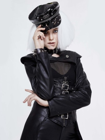 Devil Fashion Black Gothic Punk Rivet Faux Leather Hat for Women