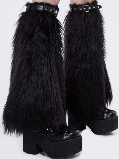 Devil Fashion Black Gothic Winter Faux Fur Leg Cuffs for Women
