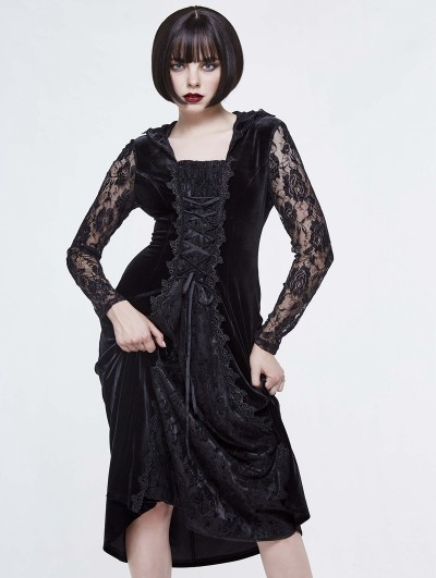 Devil Fashion Black Gothic Velvet Lace Long Sleeve Hooded Dress