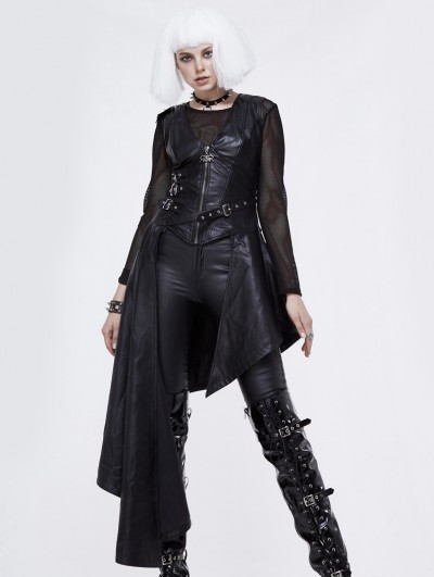 Devil Fashion Black Gothic Punk PU Leather Long Asymmetric Waistcoat for Women