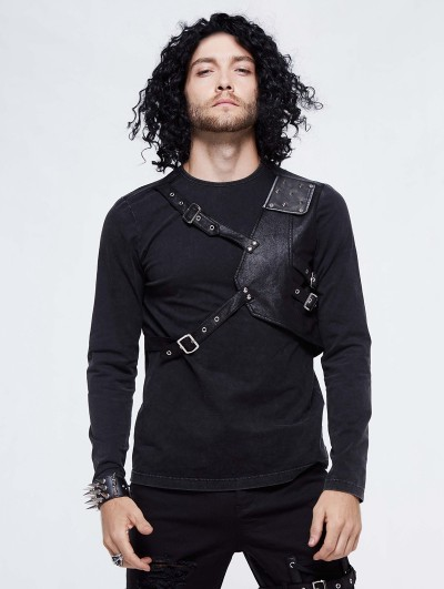 Devil Fashion Black Gothic Punk Long Sleeve T-Shirt for Men