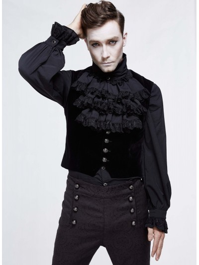 Devil Fashion Black Simple Gothic Velvet Underbust Vest for Men