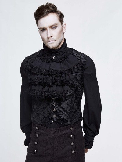 Devil Fashion Black Vintage Gothic Victorian Underbust Vest for Men