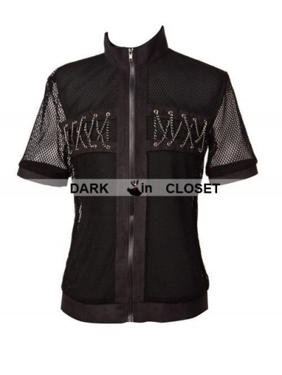 Pentagramme Black Net Short Sleeves Gothic Outfit for Men