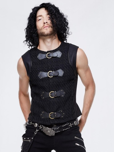 Devil Fashion Black Gothic Punk Buckle Belt Vest Top for Men