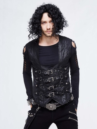 Devil Fashion Black Gothic Punk Buckle Belt Waistcoat for Men