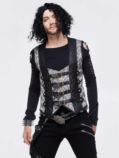 Devil Fashion Black Vintage Gothic Buckle Belt Waistcoat for Men
