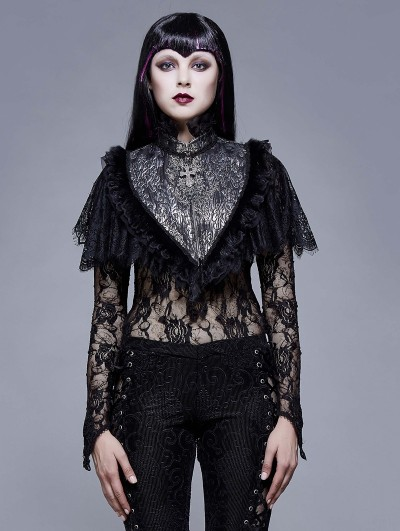 Eva Lady Sliver and Black Vintage Gothic Lace Short Shawl for Women
