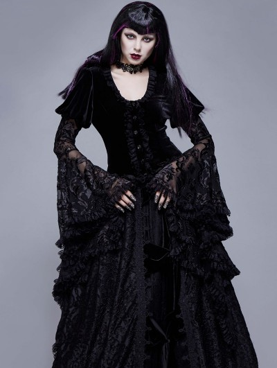 Eva Lady Black Vintage Gothic Victorian Lace Velvet Tail Coat for Women