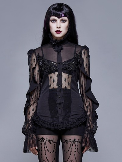 Eva Lady Gothic Sexy Lace Beading Long Sleeve Blouse for Women
